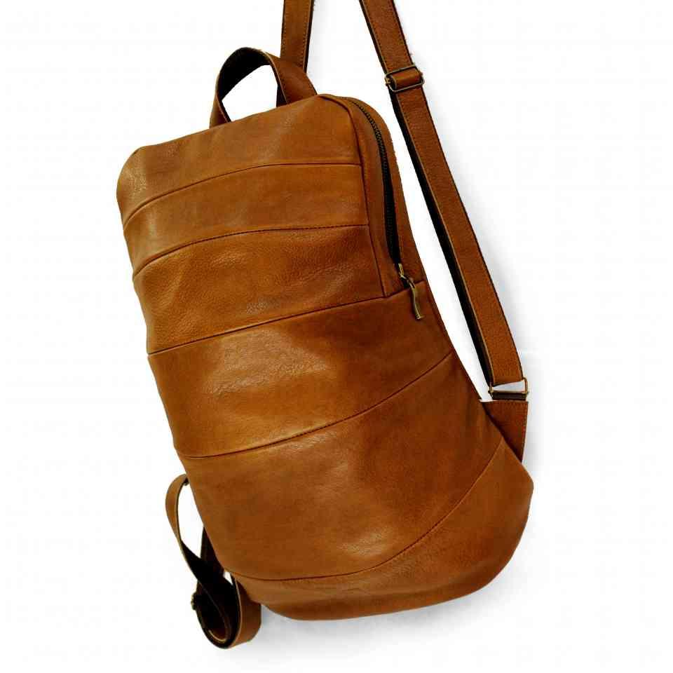 74cb758de699 Коричневый кожаный рюкзак из сегментов ручной работы от бренда Leonid Titow